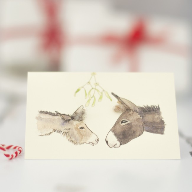 Donkey Christmas Gift Cards, pack of 4