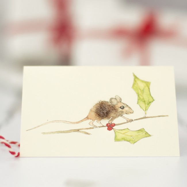 Mouse Christmas Gift Cards, pack of 4