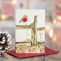 Robin on a fence Christmas Gift Cards - Pack of 4