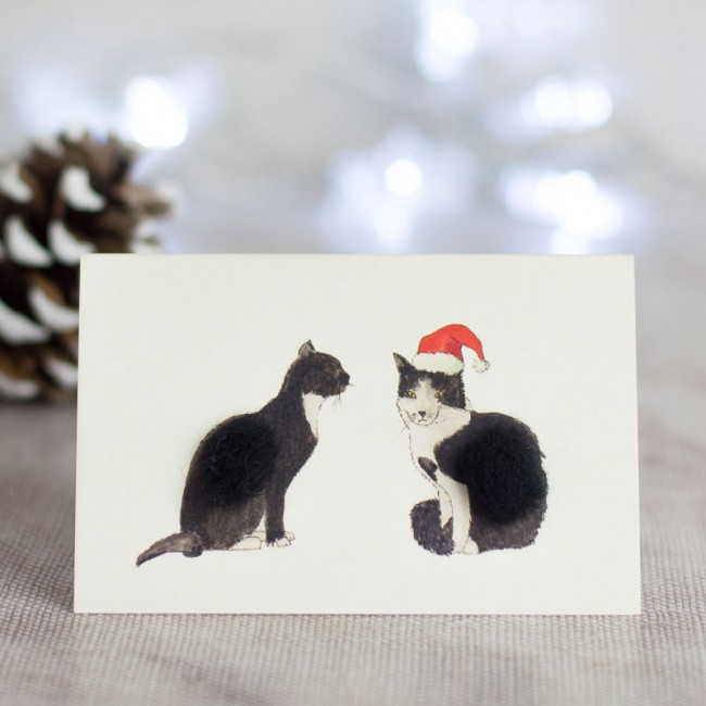 Cats Christmas Gift Cards, pack of 4