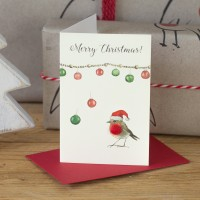 Robin under a string of baubles Christmas Gift card, Pack of 4