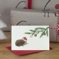 Hedgehog under a Pine sprig Christmas Gift card, Pack of 4