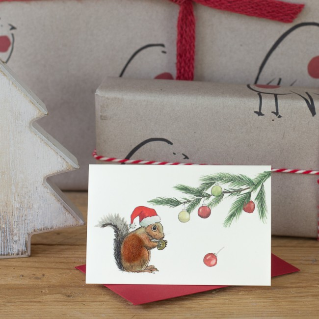 Squirrel under a Pine sprig Christmas Gift card, Pack of 4