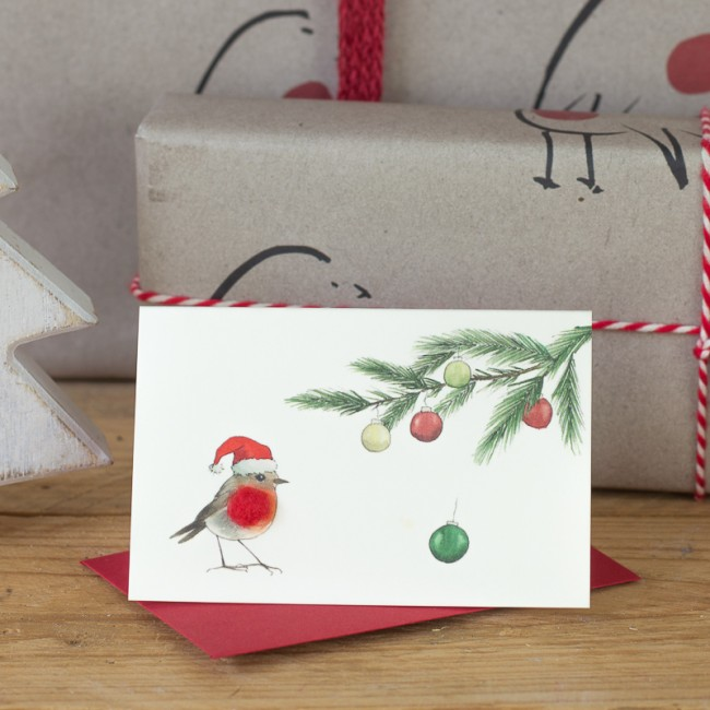 Robin under a Pine sprig Christmas card, Pack of 4