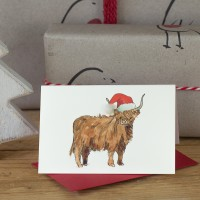 Highland Cow in hat Christmas Gift card, Pack of 4