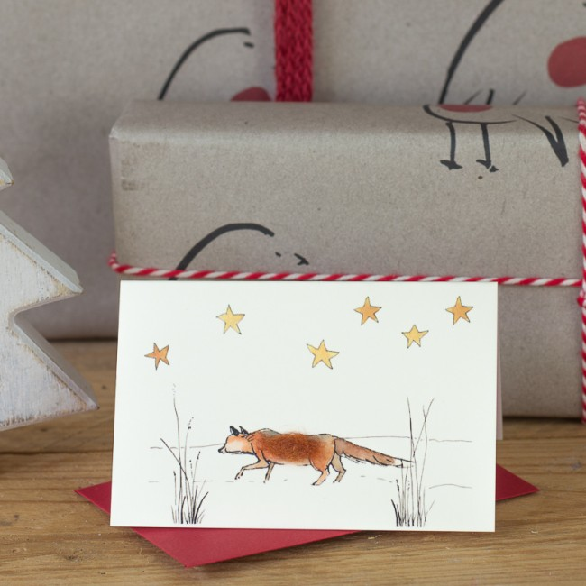 Fox under the stars Christmas Gift Card, Pack of 4