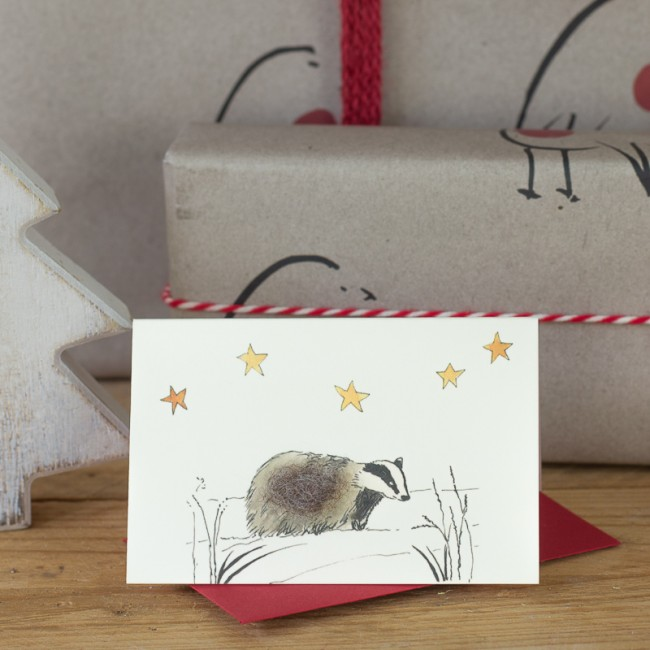 Badger under the Stars Christmas Gift Card, Pack of 4