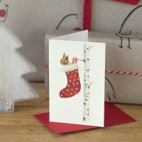 Squirrel in a Stocking Christmas Gift Card, Pack of 4