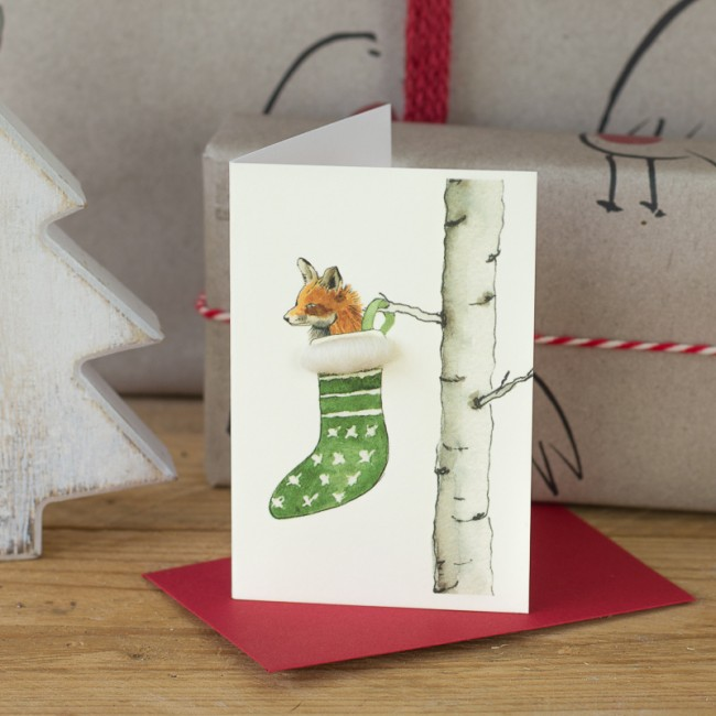 Fox in a Stocking Christmas Gift Card, Pack of 4