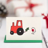 Robin and Tractor Christmas Gift Cards, pack of 4