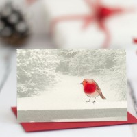 Robin on a Snowy Fence Christmas Gift Cards, pack of 4