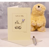 New baby card with Pram and Bird