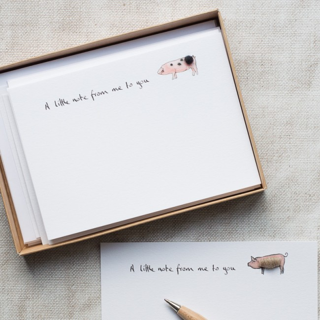 Pig Notecards, boxed set of 10