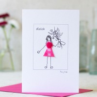 Welsh Thank You Card with a Girl with Flowers