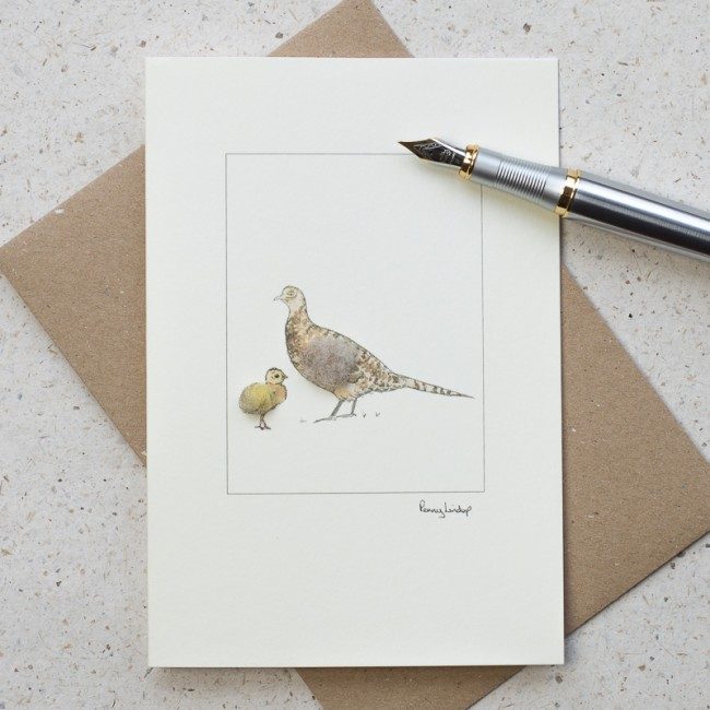 Pheasant Card - female and chick