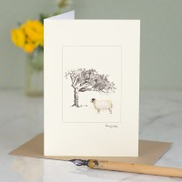 White Sheep card - mule and windswept tree