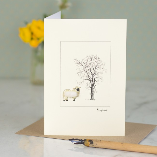 White Sheep card - Valais Blacknose sheep