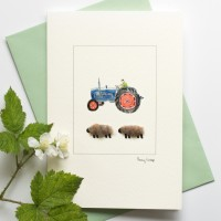 Sheep Card - Blue tractor