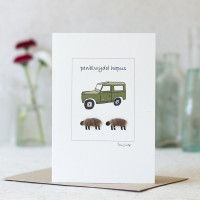 Welsh Birthday Card with a Land Rover and woolly sheep