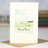 Sheep on hillside card