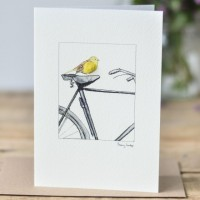 Yellowhammer & Bicycle Card
