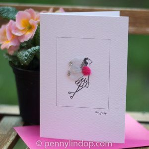 Greeting card - bright pink fairy
