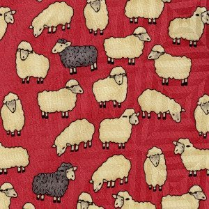 Tie -Reddish Pink with White and Grey Sheep - Silk