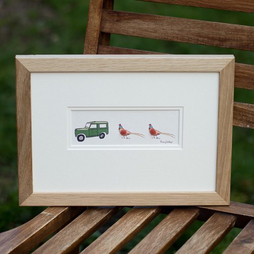 Picture - Land Rover & 2 Pheasants