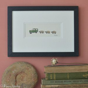Picture - Land Rover and 3 Woolly Sheep