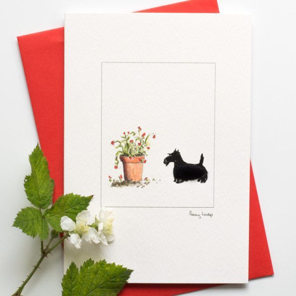 Scottie & Flowers Card