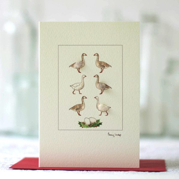 6 Geese a-Laying Christmas Card