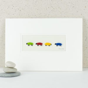 Bright woolly sheep picture with 4 fluffy colourful sheep