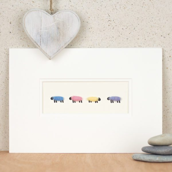 Pastel coloured woolly sheep picture