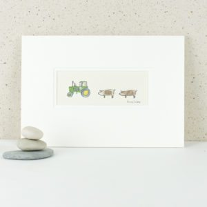 Pigs and John Deere tractor picture