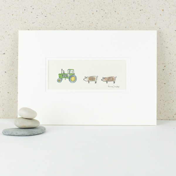 Picture - John Deere Tractor and Pigs
