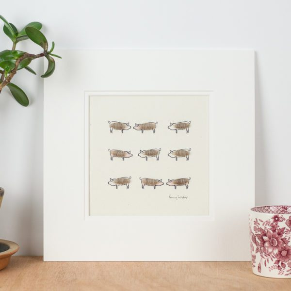 Pigs print with 9 woolly pink pigs