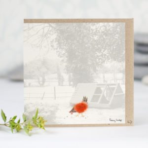Fluffy hen and henhouse photographic card