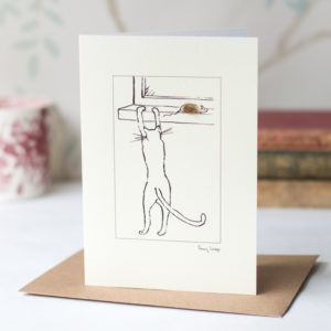 Cat and fluffy mouse greeting card
