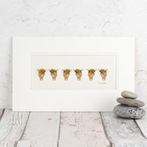 Highland cow print, hand finished with real wool