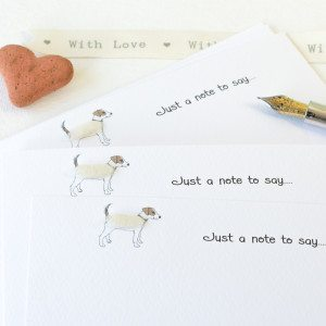 Jack Russell notecards, hand finished with real wool