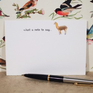 10 hand finished alpaca notecards in a box with envelopes