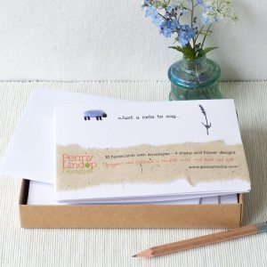 10 Woolly sheep and flowers notecards, boxed collecttion
