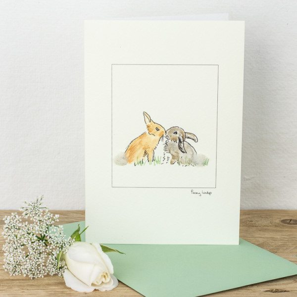 Rabbits Kissing Card