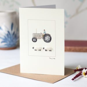 Woolly sheep with vintage grey Fergie tractor card