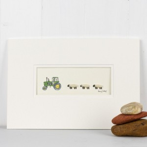 Sheep and John Deere Tractor Print