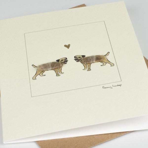 Border Terriers & Heart Card