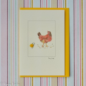 Greeting card – mother hen and chick