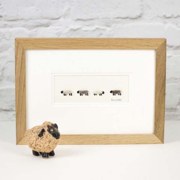 4 natural woolly sheep picture, pale shades