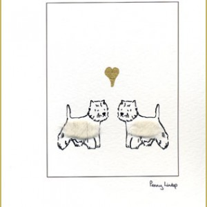 Greeting card – westies with heart