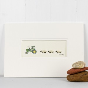 Picture - John Deere Tractor and 3 Woolly Sheep